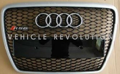 Audi A6 Rs6 Black Grille Silver Frame Chrome Rings 2010