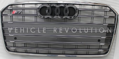 Audi A7 S7 Grey Grille Chrome Frame Black Rings 2016 2017
