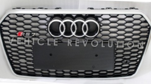 Audi A7 Rs7 Black Grille Silver Frame Chrome Rings 2016 2017