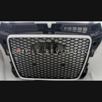 Audi A3 RS3 8P Black Grille  Silver Frame, Chrome Rings 2015
