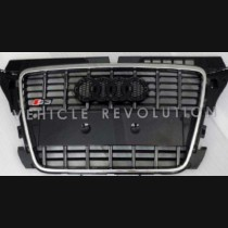 Audi A3 S3 Grey Grille Chrome Frame, Black Rings 2010 2011 2012