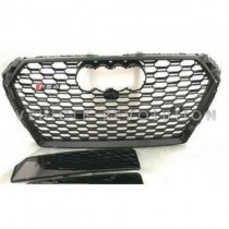 Audi  A4 RS4  Black Grille, Black Frame, Chrome Rings 2010 2011 2012 2013