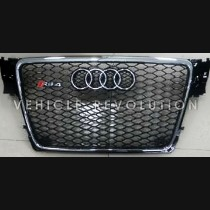 Audi  A4 RS4  Black Grille, Chrome Frame, Chrome Rings 2010 2011 2012 2013