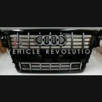Audi  A4 S4  Black Grille, Black Frame, Chrome Rings 2010 2011 2013 2014 2015