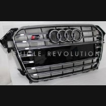 Audi  A4 S4  Black, Grille, Chrome Frame, Chrome Rings 2013 2014 2015 2016 2017