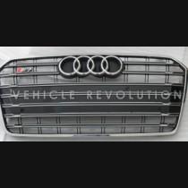 Audi A7 S7 Black Grille Chrome Frame, Chrome Rings 2016-2017