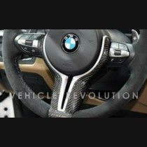 BMW M Sport M2 M3 M4 M5 M6 X5M X6M Carbon Steering Wheel Trim Gloss Finish 2014-2015